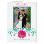 Pink Gerbera Daisy Floral Thank You Card