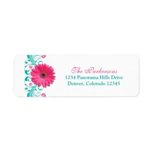 Pink Gerbera Daisy Floral Wedding Address Labels