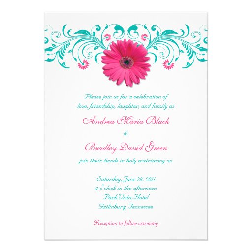 Pink Gerbera Daisy Floral Wedding Invitation