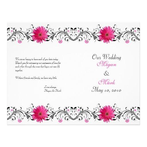 Pink Gerbera Daisy Floral Wedding Program Custom Flyer