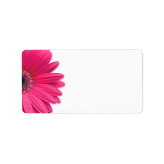 Pink Gerbera Daisy Flower Wedding Blank Address Address Label