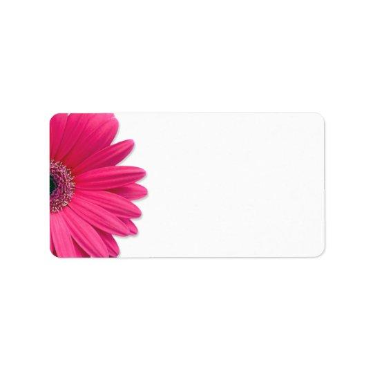 Pink Gerbera Daisy Flower Wedding Blank Address Label