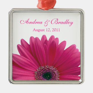 Pink Gerbera Daisy Flower Wedding or Anniversary Christmas Ornament