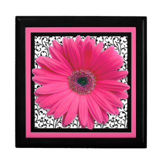 Pink Gerbera Daisy Foral Damask Jewelry Box