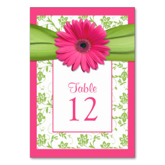 Pink Gerbera Daisy Green Damask Table Number Card Table Cards