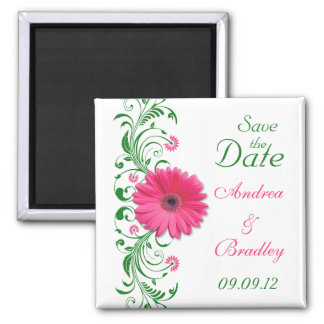 Pink Gerbera Daisy Green Floral Save the Date Square Magnet