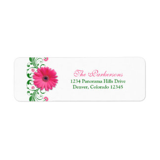Pink Gerbera Daisy Green Floral Wedding Address Return Address Label