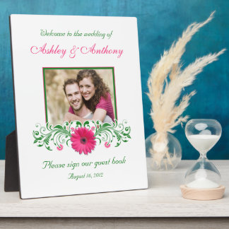 Pink Gerbera Daisy Green Floral Wedding Photo Plaque