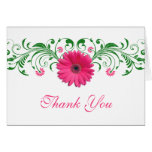 Pink Gerbera Daisy Green Floral Wedding Thank You Note Card