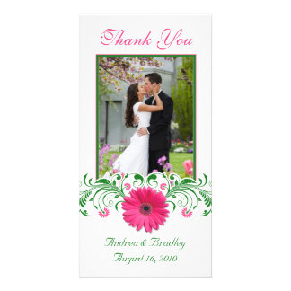 Pink Gerbera Daisy Green Floral Wedding Thank You Personalised Photo Card