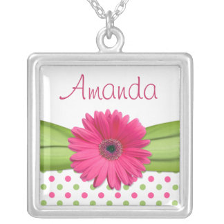 Pink Gerbera Daisy Green Polka Dot Necklace