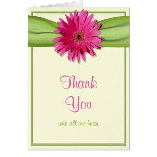 Pink Gerbera Daisy Green Ribbon Wedding Thank You Card