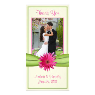 Pink Gerbera Daisy Green Ribbon Wedding Thank You Picture Card