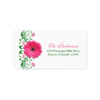 Pink Gerbera Daisy Green Wedding Address Labels