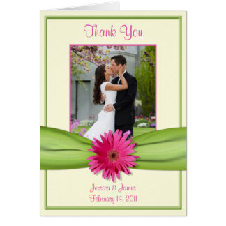 Pink Gerbera Daisy Green Wedding Photo Thank You Card
