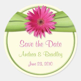 Pink Gerbera Daisy Green Wedding Save the Date Round Sticker