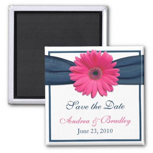 Pink Gerbera Daisy Monogram Wedding Magnet Magnets