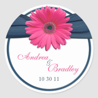 Pink Gerbera Daisy Navy Blue Wedding Classic Round Sticker