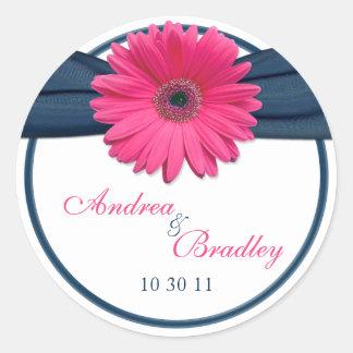 Pink Gerbera Daisy Navy Blue Wedding Round Sticker