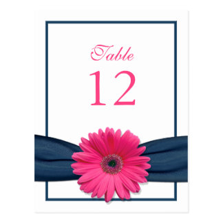 Pink Gerbera Daisy Navy Ribbon Table Number Card