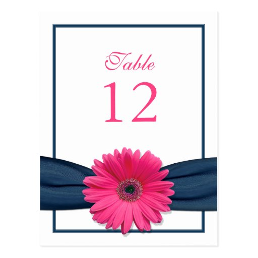 Pink Gerbera Daisy Navy Ribbon Table Number Card Postcards