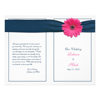 Pink Gerbera Daisy Navy Ribbon Wedding Program Flyer