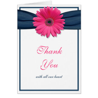 Pink Gerbera Daisy Navy Ribbon Wedding Thank You Card