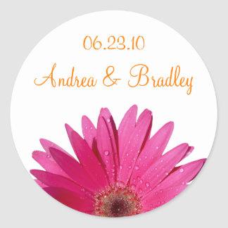 Pink Gerbera Daisy Orange Personalized Wedding Classic Round Sticker