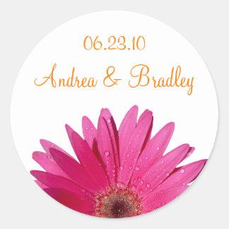 Pink Gerbera Daisy Orange Personalized Wedding Round Sticker