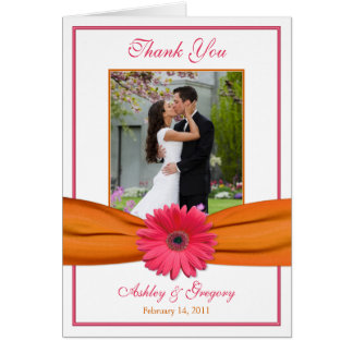 Pink Gerbera Daisy Orange Photo Wedding Thank You Card