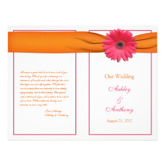 Pink Gerbera Daisy Orange Ribbon Wedding Program Flyer