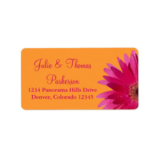 Pink Gerbera Daisy Orange Wedding Address Labels