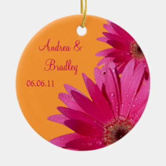 Pink Gerbera Daisy Orange Wedding or Anniversary Christmas Ornament