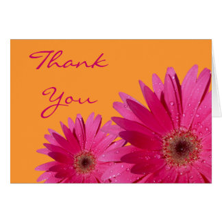 Pink Gerbera Daisy Orange Wedding Thank You Card