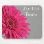 Pink Gerbera Daisy Passion Motivational Mousepad