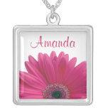 Pink Gerbera Daisy Personalised Necklace