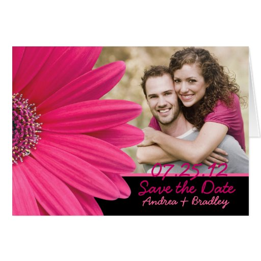 Pink Gerbera Daisy Photo Save the Date Card