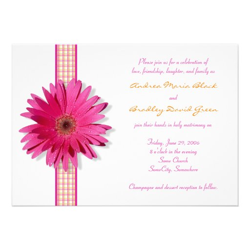 Pink Gerbera Daisy Plaid Ribbon Wedding Invitation