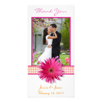 Pink Gerbera Daisy Plaid Ribbon Wedding Thank You Card