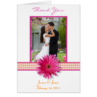 Pink Gerbera Daisy Plaid Wedding Photo Thank You Card