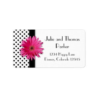 Pink Gerbera Daisy Polka Dot Wedding Address Address Label