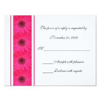 Pink Gerbera Daisy RSVP Wedding Invitation