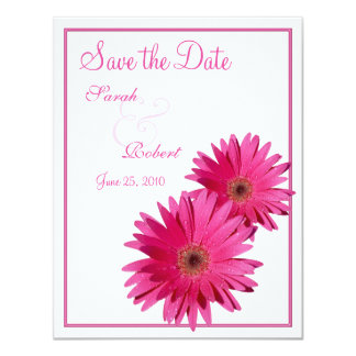 Pink Gerbera Daisy Save the Date Card