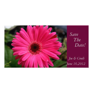 """""""Pink Gerbera Daisy""""  Save The Date Photo Card Template"""