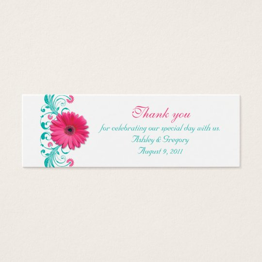 Pink Gerbera Daisy Special Occasion Favour Tags Mini Business Card