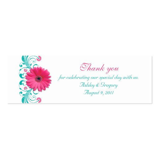 Pink Gerbera Daisy Special Occasion Favour Tags Pack Of Skinny Business Cards