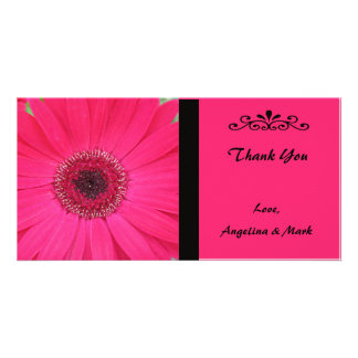 Pink Gerbera Daisy Thank You Photo Card