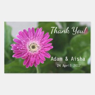 Pink Gerbera Daisy Thank you Wedding Rectangular Sticker