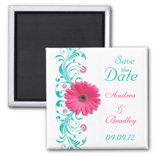 Pink Gerbera Daisy Turquoise Floral Save the Date Magnet