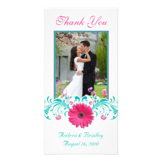 Pink Gerbera Daisy Turquoise Floral Thank You Photo Greeting Card